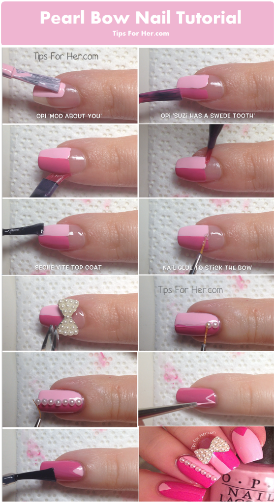 pearl bow nail tutorial