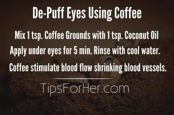 De-Puff Eyes Using Coffee Grounds