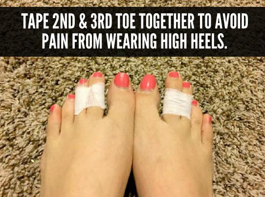 Tape yur 2nd & 2rd toe together to avoid pain from wearing high heels